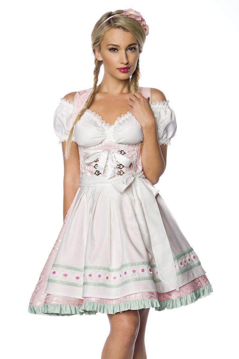 Damen Dirndl Kleid Pastell Rosa Faschingskram