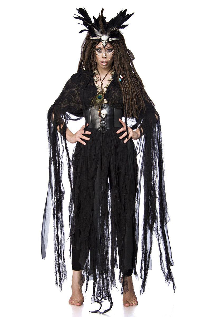 Karneval Halloween Damen Kostum Voodoo Hexe Faschingskram