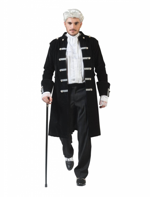 Karnevalskostüm Herren Piratenmantel schwarz silber