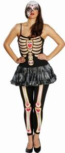 Karneval Halloween Damen Kostüm Skelett Heart of Bones
