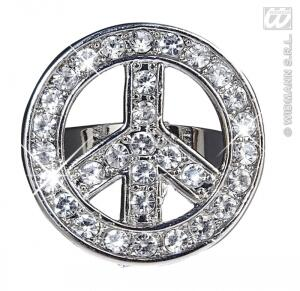 Karneval Hippie Strass Ring PEACE