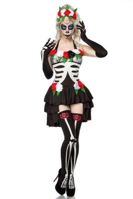 Karneval Halloween Damen Kostüm Set Mexikanisches Skelett
