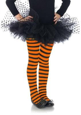 Leg Avenue Kinder Strumpfhose schwarz-orange gestreift
